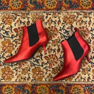 ANINE BING STEVIE BOOTS IN RED METALLIC RED